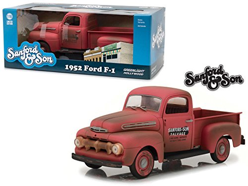 "NEW 1:18 GREENLIGHT HOLLYWOOD COLLECTION - Red 1952 Ford F-1 Pickup Truck ""Sanford & Son"" Tv Series Diecast Model Car By Greenlight"