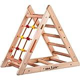 RINAGYM Kletterdreieck für Kinder - Klettergerüst aus Holz - Leiter, Spielnetz - Indoor-Spielplatz, Spielturm, Kletterturm für Kinder - Hält bis zu 60kg...