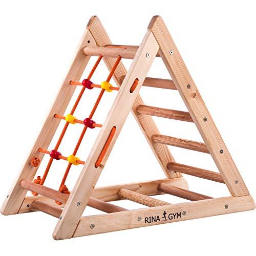RINAGYM Kletterdreieck für Kinder - Klettergerüst aus Holz - Leiter, Spielnetz - Indoor-Spielplatz, Spielturm, Kletterturm für Kinder - Hält bis zu 60kg Gewicht