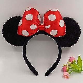 Cerchietto nero con orecchie di Minnie Mouse con fiocco rosso con pois bianchi per bambini e adulti 4 colori diversi (ROSS...