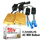 55W Heavy Duty Fast Bright AC Digital CANBUS HID Xenon Replacement Ballast for 12V Vehicles Aftermarket HID System (Pack of 2)