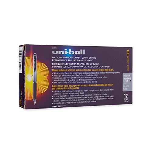 uni-ball Retractable Gel Pens, Medium Point (0.7mm), Black, 12 Count