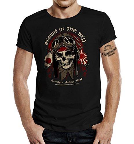Camiseta con diseño de aviador Air-Force de Kamikaze Blood from The Sky Negro XL