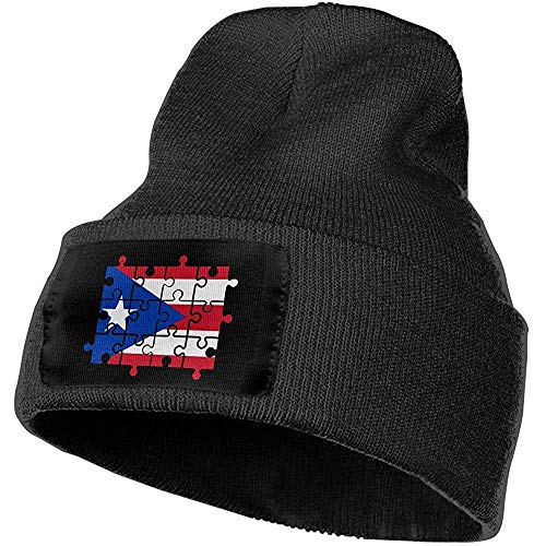 Puerto Rico Vlag Puzzel Outdoor Warm Knit Beanies Hoed Zachte Winter Knit Caps Warm Winter voor Mannen Vrouwen,(W) 18Cm X (H) 30Cm