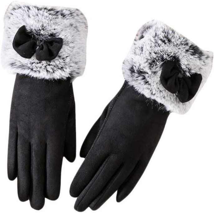 Fashion Women Suede Leather Gloves Mittens Winter Soft Touch Screen Anti-Slip Mittens Handwear Full Finger Bow Tie Plush Gloves - (Color: Coffee)