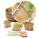 GoBeTree 25 Platos de Hoja de Palma Redondos de 25 cm con 75 Cubiertos de Madera, Vajilla desechable Biodegradable y ecológica. Pack de 100 Piezas.