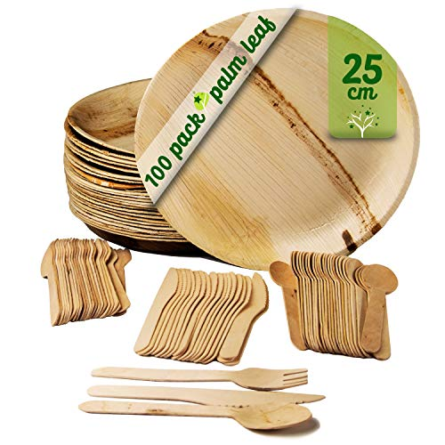 25 assiettes rondes en feuille de palmier de 25 cm avec 75 couverts en bois, vaisselle jetable biodégradable et écologique. Paquet de 100 pièces.