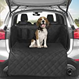 Amochien SUV Cargo Liner for Dogs, Waterproof Pet Cargo Cover 40/60 Split Dog Cover with Bumper Flap Protector for Small & Impact SUV Black