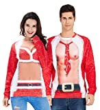 Womens Ugly Christmas Sweater Novelty Design Female Trendy Fake 2 Pieces Outfits for Adult Mom Round Neck Xmas Holiday Pullover Sweatshirt Red L