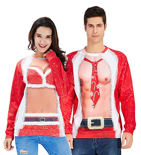Mens Ugly Christmas Sweater Novelty Muscle Design Round Neck Shirt Jackets Unique Fake 2 Pieces Graphics for Bro Guys Plus Size Pullover Sweatshirt Red XXXL 3XL