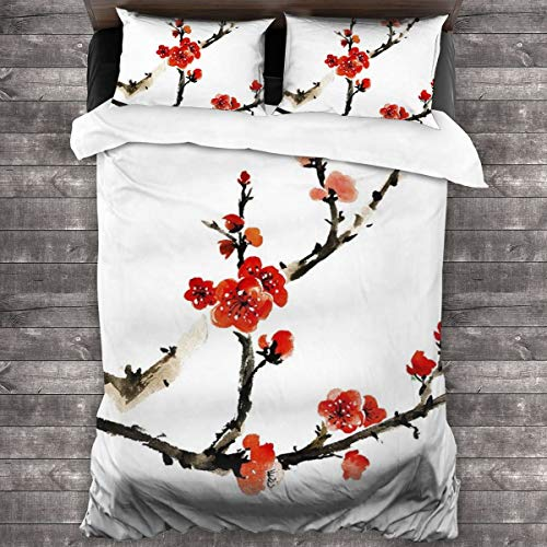ZUL Duvet Cover Set,Chinese Traditional Ink Painting, Red Plum Blossom On White Background,Decorative 3 Piece Bedding Set with 2 Pillow Shams,200 * 200cm*1