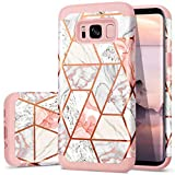 Fingic Galaxy S8 Case Rose Gold Marble Design Shiny Glitter Bumper Hybrid Hard Plastic Soft Rubber Silicone Cover Anti-Scratch Shockproof Protective Case for Samsung Galaxy S8 (2017), Rose Gold