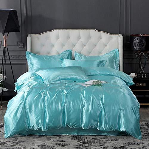 -Simulación de verano Seda de hielo Seda de seda de cuatro piezas Conjunto de ropa de cama de cuatro piezas Funda para edredón Funda de almohada Cómodo y reversible Día de la madre Regalo-Qi_1,8 m ca