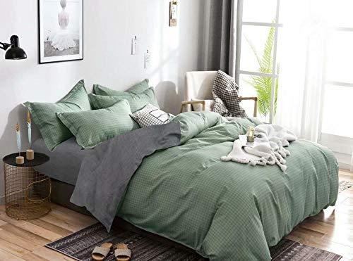 LJJYF Simple Solid Color Lattice Texture Line Duvet Cover Set Single Double King Print Duvet Bedding Set Children's Bedroom-Light_Green_200*200cm(3pcs)