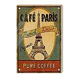 Oddss Fresh Paris Coffee Retro Cartel de chapas, Vintage Decoration Aluminum Metal Tins Sign for Men Women, Wall Decor for Home House Bars Restaurants Cafes Pubs,12x8 Inches