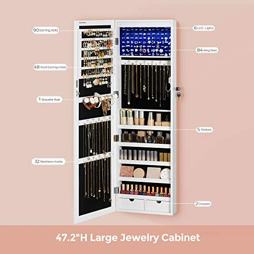 SONGMICS 6 LEDs Mirror Jewelry Cabinet, 47.3