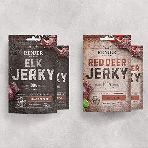 NEU  RENJER Modern Probierset (4er Packung) - je 2 x Elch-Jerky mit Schwarzem Pfeffer und Hirsch-Jerky mit Chili&Limette - das schwedische Original - Alternative zu Beef Jerky