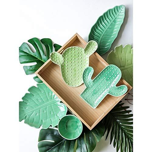 Platos para La Cena Plantas Tropicales Populares Cactus Cerámica Creativa Pigmentada Verde Contenedor De Comida Irregular Plato De Sushi Regalos (H)