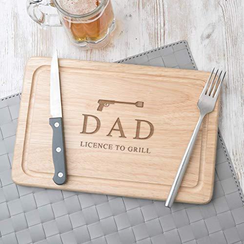 """Personalisiertes Schneidebrett für Papas, Holz oder Schiefer, Weihnachtsgeschenk, Vatertagsgeschenk, 007 Lizenz zum Töten,\""""Licence to grill\"""", Bester Papa der Welt"""