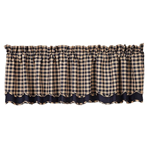 VHC Brands Classic Country Primitive Kitchen Window Curtains - Check Blue Scalloped Valance, Navy