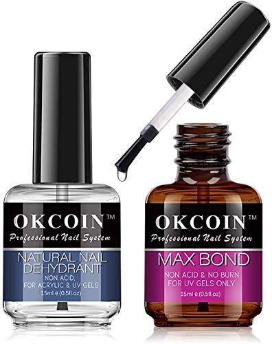 OKCOIN Professional Natural Nail Dehydrant and Max Bond, No Burn PH Balance Nail Prep Dehydrator and Acid Free Primer Set, Superior Protein Bonding Fast Air Dry For Gel Polish & Acrylic Gift Box Set