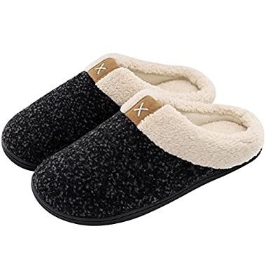 Men's Comfort Memory Foam Slippers Wool-Like Plush Fleece Lined House Shoes w/Indoor, Outdoor Anti-Skid Rubber Sole (Large/11-12 D(M) US, Space Black)