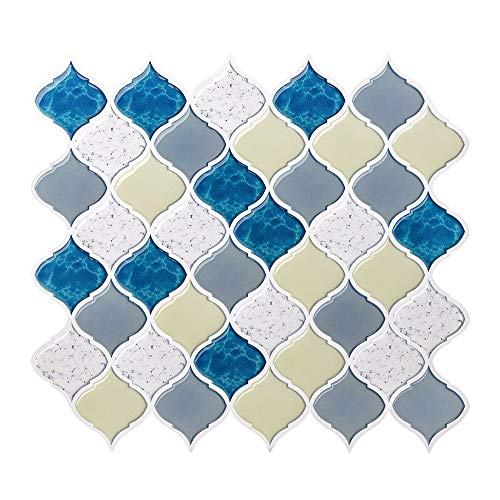 FAM STICKTILES Arabesque Fliese zum Abziehen und Aufkleben für die Küche Backsplash, dekorative Backsplash Peel and Stick on Fliesen for Backsplash Smart Tiles Peel and Stick Backsplashes A7009-4