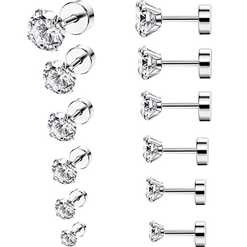 6 Pairs 18G Stainless Steel Cubic Zirconia Studs Earrings Cartilage Ear Helix Tragus Barbell Piercings, 6 Size