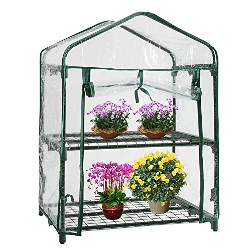 Mini Greenhouse Cover 69*49*92 cm/27*19*36 in, Small Portable Garden Growhouse Plastic Cover, Vegetable Fruit Flower Plant Shed (Not Include Iron Shelf)…