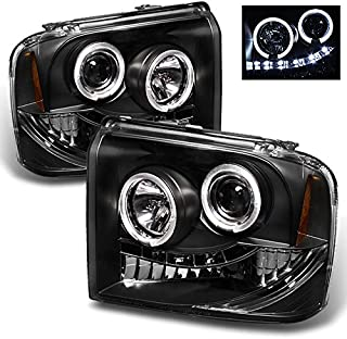 For Ford F250/F350/F450/F550 SuperDuty 05 Excursion Black Bezel Dual Halo Ring LED Projector Headlights Pair