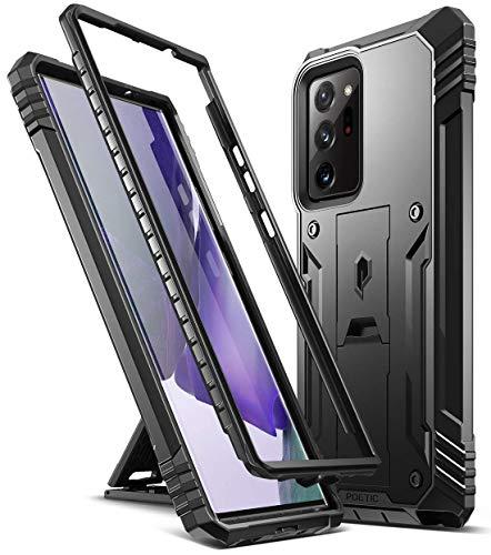 POETIC Revolution Series für Samsung Galaxy Note 20 Ultra Hülle, robuste, zweilagige Ganzkörper-Schutzhülle mit Ständer, Ohne Eingebauten Bildschirmschutz, schwarz