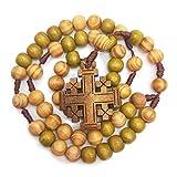 Sayletre Oración de Jesús Granos de madera tejida cadena de la cuerda Iglesia Suministros 10mm Rosario cruz colgante collar de joyería y accesorios