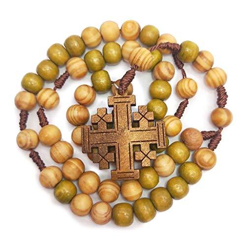 Wr Collar de Rosario de Madera con Cuentas de oración de Jesús de 10 mm, Cadena de Cuerda Tejida Colgante, Suministros de Iglesia, Accesorios de joyería