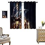 DRAGON VINES Cortinas opacas con bolsillo para barra, cortinas decorativas para sala de estar, Call of Duty Zombies Poster habitación, juego de 2 paneles de 55 x 62 cm