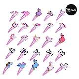 25 Piezas Pinza de Pelo para Niñas, Ulife Mall Metal Rosa Clips Pelo Horquillas Diseño de Unicornio Barrettes Accesorios Cabello para Bebé Infantiles