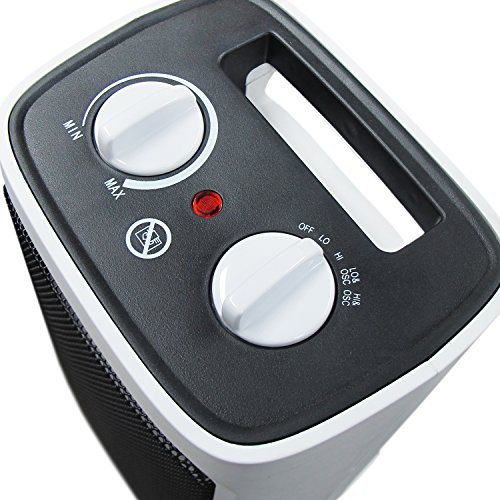 Pro Breeze® 2000W Mini Ceramic Fan Heater - Automatic Oscillation and 2 Heat Settings, White
