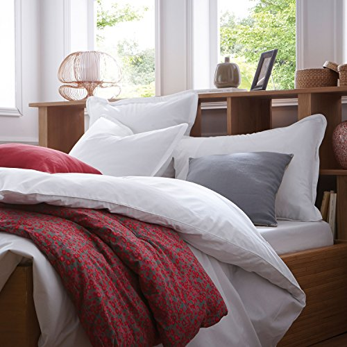 BLANC CERISE Parure de lit en Percale de Coton - Housse de Couette + Taies d'oreiller Blanc 140x200 cm