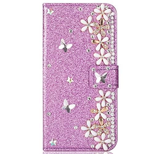 Blllue Funda de cartera compatible con Redmi Note 9s, Bling Glitter Lucky Flower Diamond Pu Funda de cuero Flip Phone Cover para Redmi Note 9 Pro - Púrpura