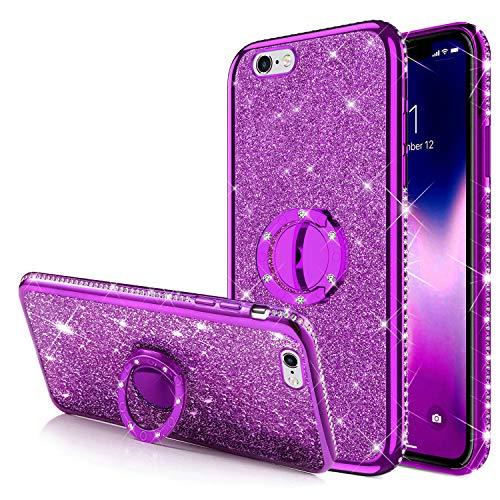 Cover iPhone 6S Plus,Cover iPhone 6 Plus,[Anello supporto] Bling Scintillio Lucido Glitter Diamanti Strass Paraurti Placcante Morbido Silicone TPU Gel Custodia Case Cover per iPhone 6S Plus,Viola