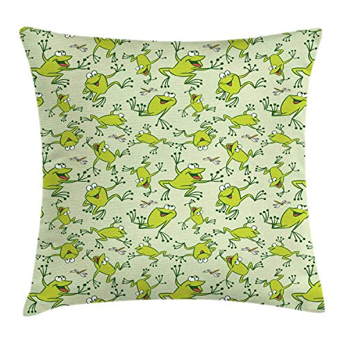 CheXe Nursery Pillow Cover,Childish Cartoon Style Dragonflies and Frogs Smiling Funny Repetition,18 X 18 Inch,Pale Green Green