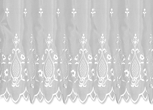 Bistrogardine Anja ca. 155x45 cm Cafehaus Gardine weiß transparent Voile Fenstergardine Vorhang Bestickt #1290 (Tulpe)