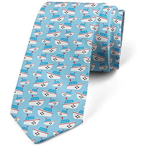 De stropdas van de mannen, flippige hand getekende boot, lichtblauw en perfecte meerkleurige geschenken voor modieuze stropdassen