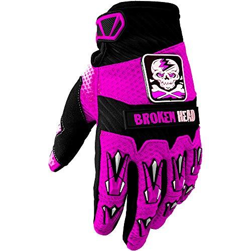 Broken Head MX-Handschuhe Faustschlag - Motorrad-Handschuhe Für Motocross, Enduro, Mountainbike - Pink - Größe XS