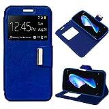 iGlobalmarket BQ Aquaris V Plus/VS Plus, Funda con Tapa, Apertura Lateral Tipo Libro, Cuero PU, Color Azul