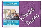 Wolimbo Wohndecke Kuscheldecke mit Namen Bestickt Farbe: lila Größe: 200x150cm Flauschdecke