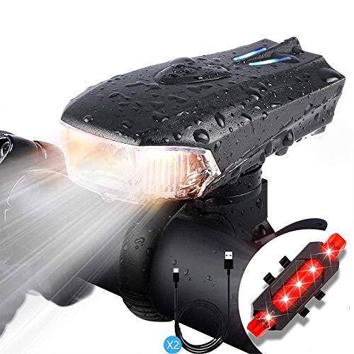Avis Aufladbar LED-Fahrradlicht Set, LED-Fahrradbeleuchtung mit 400 Lumen und IPX5-Wasserdichtigkeit, STVZO-zertifiziertes Fahrradlichter und 5 Beleuchtungsmodi, geeignet für Renn- und Mountainbike