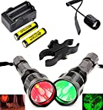 BESTSUN HS-802 350 Yards Green and Red Light Predator Light Tactical Led Flashlights Long Range Varmint Hunting Light with Pressure Switch, Scope Mount, Spare 18650 Rechargeable Battery and Charger