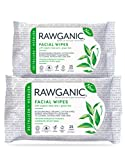 RAWGANIC Refreshing Facial Wipes, Fragrance-free Biodegradable Organic Cotton Wipes with Aloe Vera and Green Tea (bundle of 2)