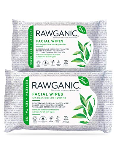 RAWGANIC Lingettes Démaquillantes Bio | Visage, Yeux, Lèvres | Coton Bio Biodégradable | Aloe Vera Thé Vert | Sans parfum (Lot de 2 paquets (50 lingettes))
