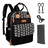 Kkomforme Baby Wickelrucksack Wickeltasche mit Wickelunterlage, Multifunktional Große Kapazität Babytasche Reiserucksack für Unterwegs (Schwarzblume)